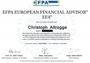 EFA-Zertifikat von Christoph Altrogge