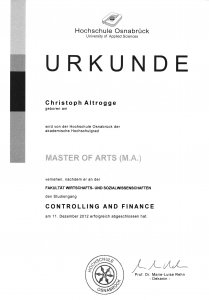 Master of Arts (M.A.) Controlling and Finance