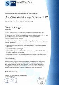 IHK Urkunde Geprüfter Versicherungsfachmann IHK