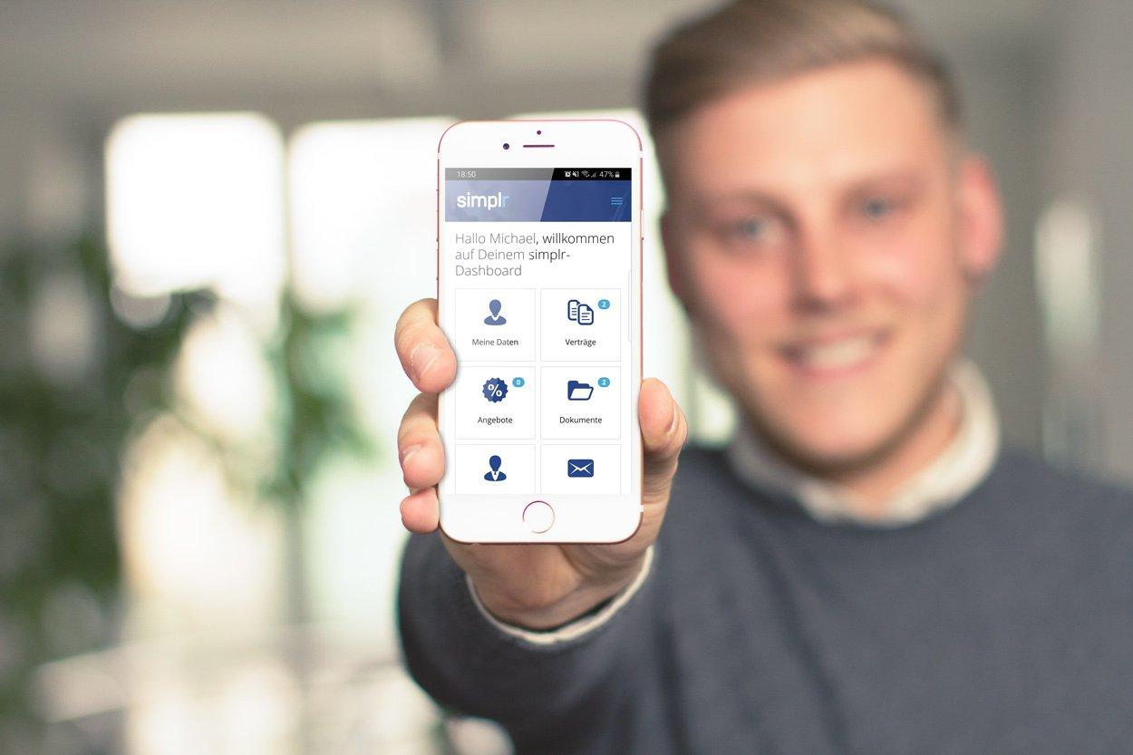 simplr - Die Versicherungs App - Ansicht homescreen